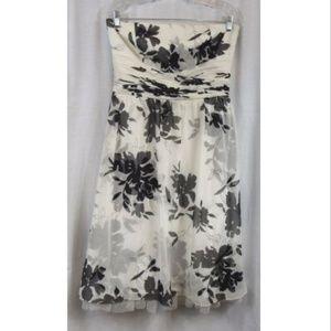 Ann Taylor Black White Floral Strapless Silk Dress